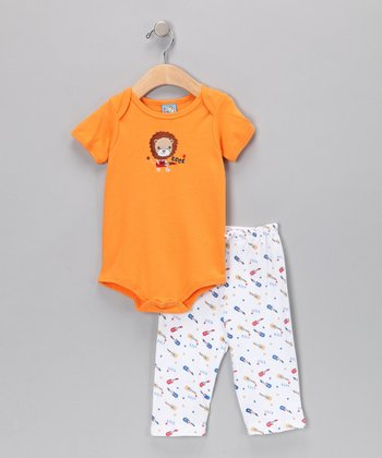 Sweet & Soft Orange Lion Bodysuit & Pants - Infant