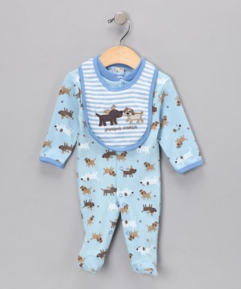 Blue Dog Footie & Bib - Infant