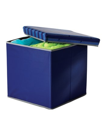 Blue & Gray Collapsible Storage Ottoman