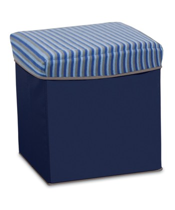 Gray & Blue Stripe Collapsible Storage Ottoman