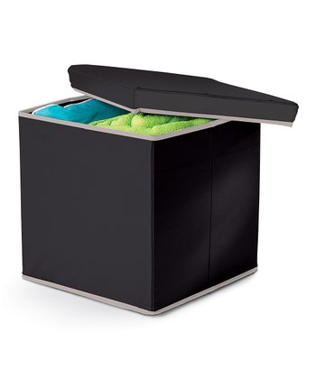 Black Collapsible Storage Ottoman