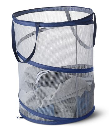 Navy & Gray Mesh Spiral Laundry Hamper