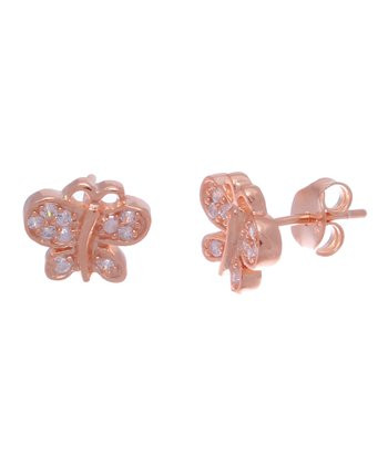 Crystal & Rose Gold Butterfly Stud Earrings