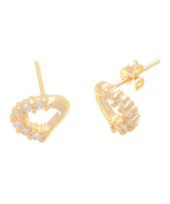 Crystal & Gold Heart Frame Stud Earrings