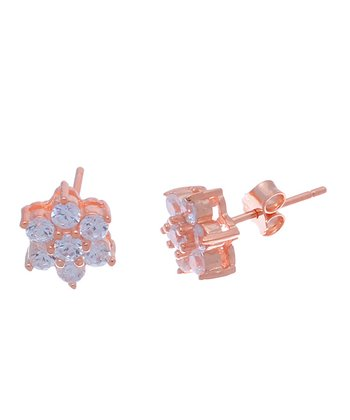 Crystal & Rose Gold Flower Stud Earrings