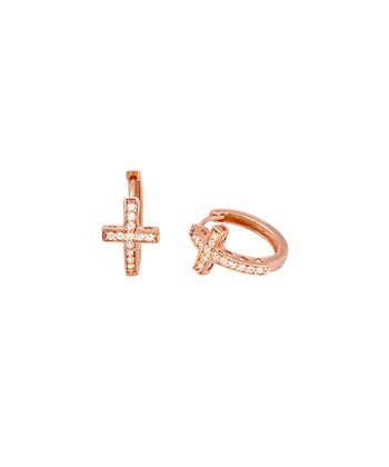Rose Gold Crystal Large Cross Hoop Earrings