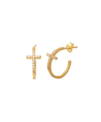 Gold Crystal Slender Cross Hoop Earrings