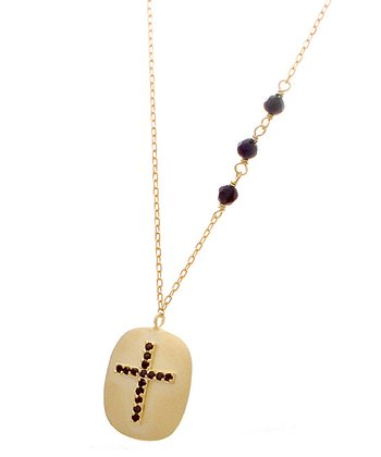 Gold & Black Crystal Cross Pendant Necklace