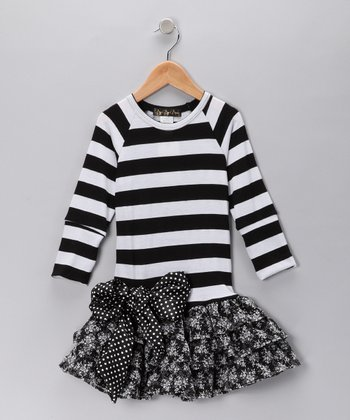 Black & White Stripe Drop-Waist Dress - Girls