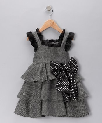 Black & White Tweed Tiered Dress - Toddler & Girls
