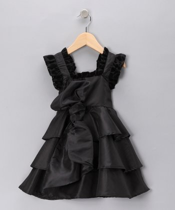 Black Tiered Taffeta Dress - Toddler & Girls