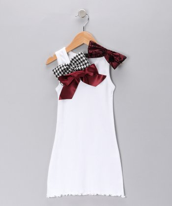White Bow Knit Dress - Toddler