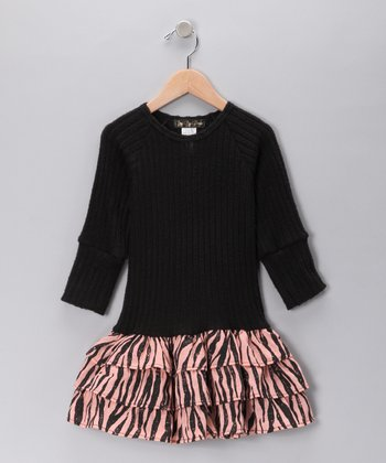 Pink & Black Zebra Sweater Drop-Waist Dress - Girls