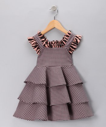 Pink & Black Gingham Tiered Dress - Toddler & Girls