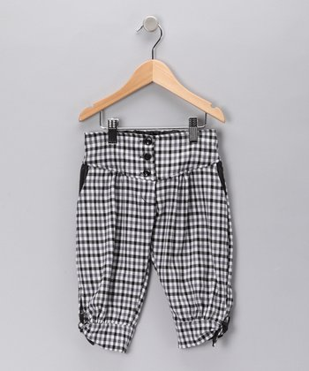 Black & White Gingham Capri Pants - Girls