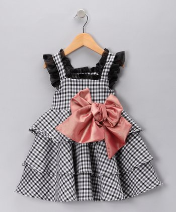 Black & White Gingham Tiered Dress - Toddler & Girls