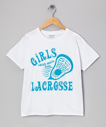 White 'Girls Just Wanna Play Lacrosse' Tee - Girls