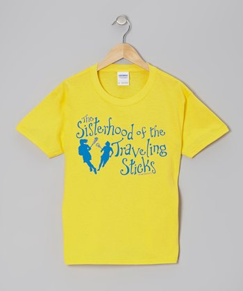 Yellow 'Sisterhood of the Traveling Sticks' Lacrosse Tee - Girls