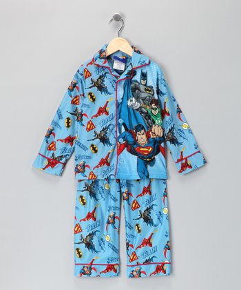 Blue & Red Batman Pajama Set - Boys