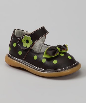 Brown & Apple Green Polka Dot Kailah Mary Jane
