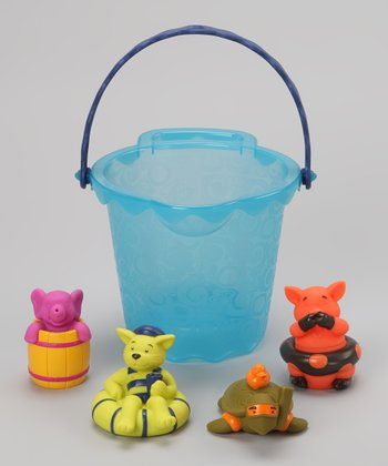 Blue Strainer Bucket & Bath Squirt Toy Set