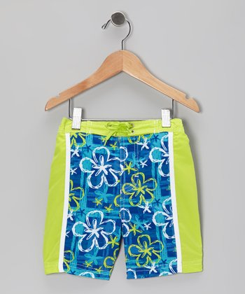 Blue & Green Hawaiian Swim Trunks - Infant, Toddler & Boys