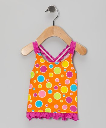 Orange Dot Ruffle Tankini Top - Infant, Toddler & Girls