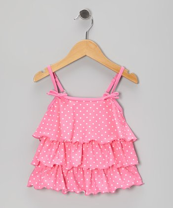 Pink Polka Dot Tiered Tankini Top - Infant, Toddler & Girls