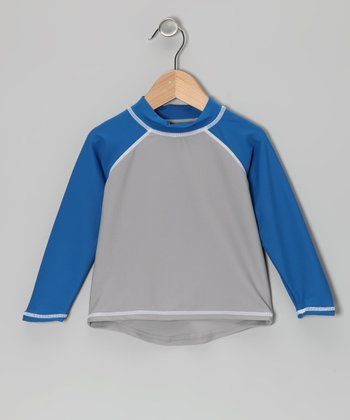 Gray & Blue Long-Sleeve Rashguard - Infant, Toddler & Boys
