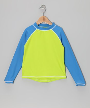 Blue & Green Long-Sleeve Rashguard - Infant, Toddler & Boys