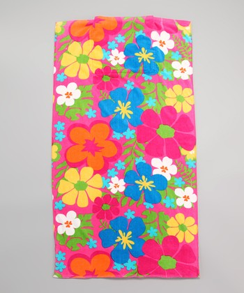 Pink Floral Beach Towel Bag