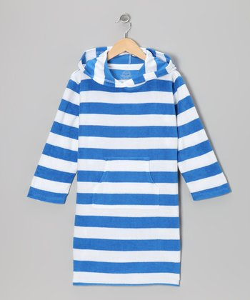 Blue & White Stripe Terry Cover-Up - Toddler & Boys