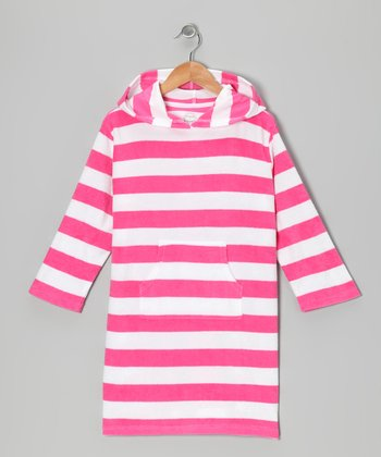 Pink & White Stripe Terry Cover-Up - Girls