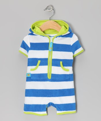 Blue & White Stripe Terry Romper - Infant & Toddler