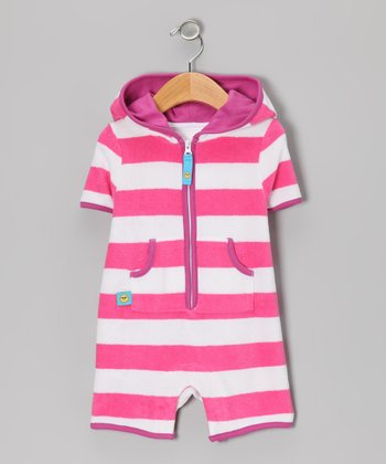 Pink & White Stripe Terry Romper - Infant & Toddler