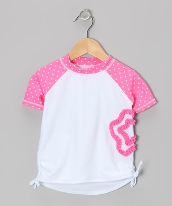 Pink & White Flower Rashguard - Infant & Toddler