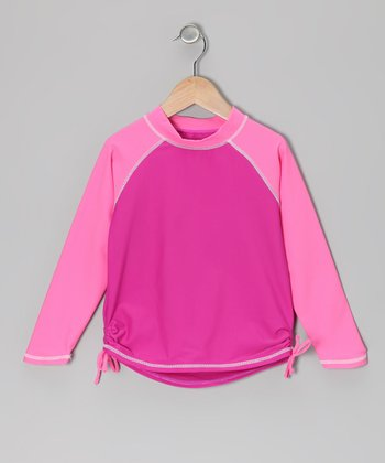 Pink Long-Sleeve Rashguard - Infant & Toddler