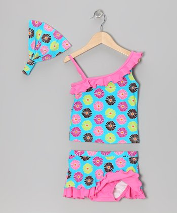 Pink & Teal Floral Tankini & Headband - Infant & Toddler
