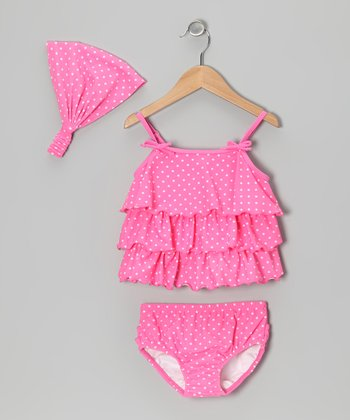 Pink & White Ruffle Tankini & Headband - Infant, Toddler & Girls