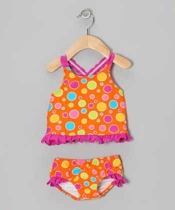 Orange Polka Dot Tankini - Infant, Toddler & Girls