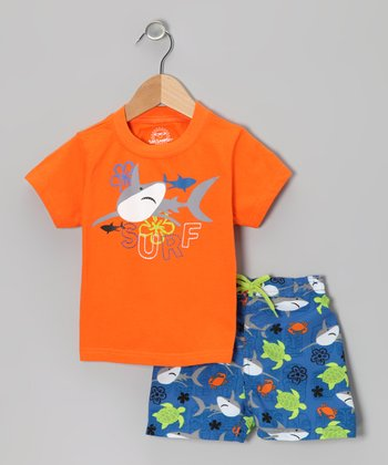 Orange & Blue Shark UV Tee & Swim Trunks - Infant, Toddler & Boys