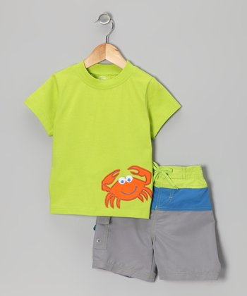 Green & Gray Crab UV Tee & Swim Trunks - Infant, Toddler & Boys