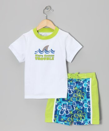 Green Hawaiian UV Tee & Swim Trunks - Infant, Toddler & Boys