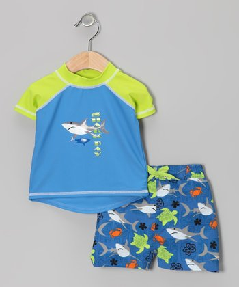 Blue & Green Rashguard & Swim Trunks - Infant, Toddler & Boys
