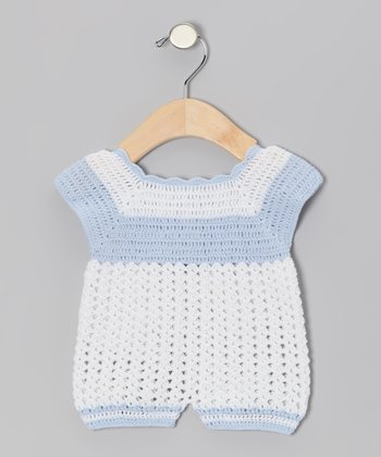 White & Blue Crocheted Romper