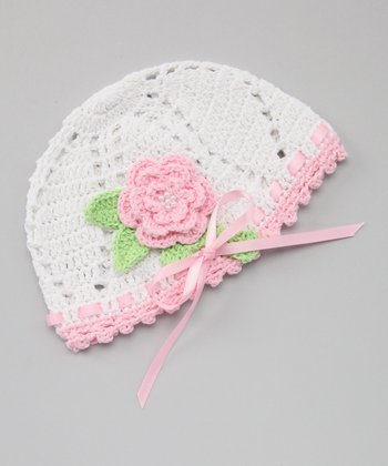 White & Pink Crocheted Flower Beanie