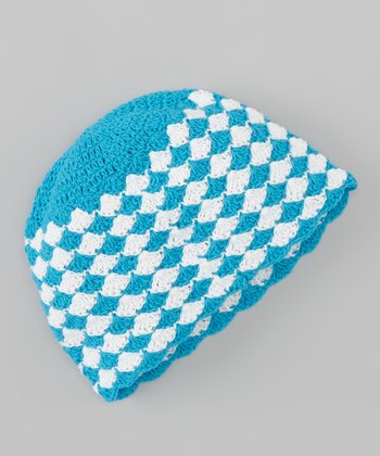 Blue & White Diamond Crocheted Beanie