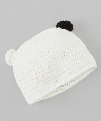 Ivory Panda Bear Crocheted Beanie