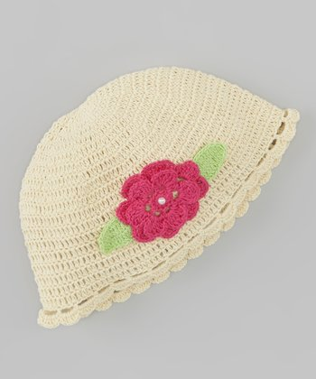 Ivory Flower Crocheted Beanie