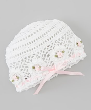 White & Pink Flower Bow Crocheted Beanie
